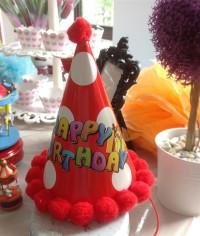 Pom Pom Party Hat / Topi Ulang Tahun Polkadot