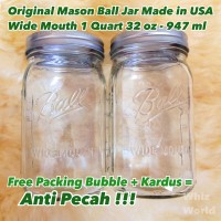 Original Mason Ball Jar 32 oz 947 ml Wide Mouth Toples Kaca