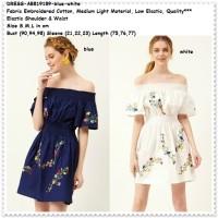 Mini Dress Pesta Boho Bohemian Sabrina Off Shoulder Putih Biru Import