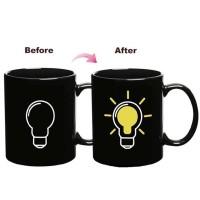Magic Mug Cangkir Sensitif Suhu Motif Bohlam 400ml - Black