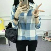 kotak soft blue*kotako biru muda*atasan*kemeja wanita*baju office*mura