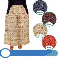 Celana Kulot JUMBO bahan katun linen motif pinggang karet