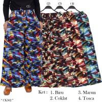 Celana Kulot JUMBO Panjang bahan katun Linen Rami Motif Abstrak