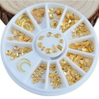 Matte Gold Color Mix Shape Studs in Wheel for Nail Art or Craft