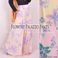 Celana Kulot Panjang Motif Flowery Palazzo Pants