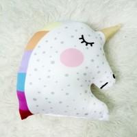 Bantal Boneka Plushie - LARGE Unicorn Rainbow (max 35x45 cm)