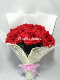 Bunga Buket Flanel Mawar Tea, Bouquet Bunga Mawar, Bunga Mawar Flanel