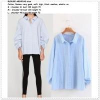 Baju Atasan Kerja Kemeja Kotak Biru Putih Lengan Tunik Blouse Import