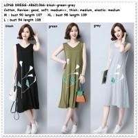 Long Dress Midi Santai Casual Baju Wanita Korea Import Tank Top HItam