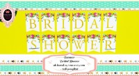 Banner / Bunting Flag Bridal Shower Motif Bunga