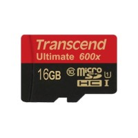 Transcend 16 GB 90 mb/s Micro SDHC Card Class 10 UHS-1 + SD Adapter Ca