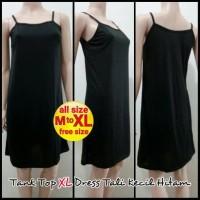 Tank Top XL Dress Tali Kecil Hitam - Melar | Terusan Inner Panjang
