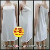 Tank Top XL Dress Tali Kecil Putih - Melar | Terusan Inner Panjang