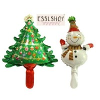Balon Foil Merry Christmas Mini/ Balon Snowman/ Balon Pohon Natal 2pcs