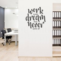 Wall Stiker Quote Work Hard Kantor Cafe Kamar Toko Dinding Kaca Decal