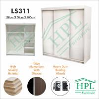 Lemari Pakaian Sliding Door 3 Pintu HPL - White Glossy