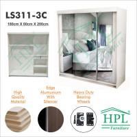 Lemari Pakaian HPL Sliding 3 Pintu Putih Glossy+Kaca 3 Pintu LPS-306