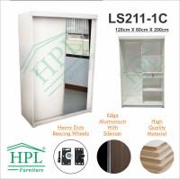 Lemari Pakaian HPL Sliding 2 Pintu Putih Glossy+Kaca 1 Pintu LPS-206