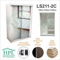 Lemari Pakaian HPL Sliding 2 Pintu Putih Glossy+Kaca 2 Pintu LPS-207