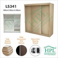 Lemari Pakaian Sliding Door 3 Pintu HPL-Cream Motif Kayu LS341