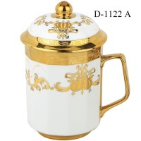 Mug I Gelas Tutup Keramik 16 OZ Gold - DJ-11 D1116A