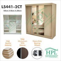 Lemari Pakaian Sliding Door 4 Pintu HPL-Cream Kayu Crm LS441-2CT