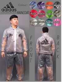 Best Seller - Jas Hujan Adidas Putih Transparan / Raincoat Adidas