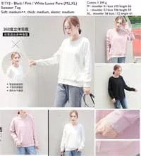 31712 - Black,Pink,White Loose Pure - Sweater Top le161217 im