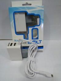 charger cass tc casan bolt 2 ampere 2 usb + kabel