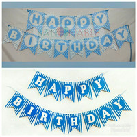 Bunting Flag / Banner Flag Happy Birthday Biru