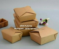 FOOD GRADE BROWN KRAFT PAPER FOOD BOX UKURAN 45oz (1.350ml )