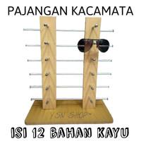 display/pajangan/rak kacamata kayu isi 12