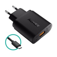 Aukey PA-U28 USB Wall Charger with Quick Charge 2.0 - Hitam 18W