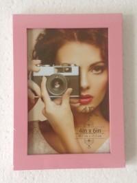 baru Photo Frame Kayu / Pigura Foto 4R Pink Minimalis