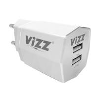 charger tc vizz vz-28 2,1 a ampere dual usb fast charging plus kabel