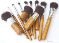 Set kuas brush 11pcs Natural Bamboo Makeup Brushes Foundation Blending
