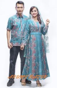 Sarimbit Pasangan Keluarga Gamis Maxi Long Dress Batik 1088 Tosca