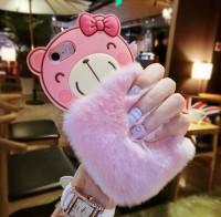 Softcase 3D Rabbit Fur Bear Plush Flurry Lucu Cover Casing iPhone 5 5s