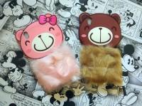 Softcase 3D Rabbit Fur Bear Plush Flurry Cove Casing OPPO F1 PLUS R9