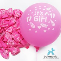 Balon Latex Baby Shower (It's A Girl) Set