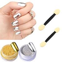 Mirror powder chrome powder nails crome powder nail art gold silver