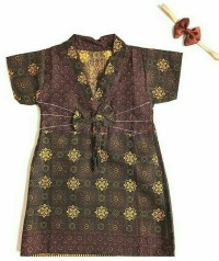 Baju dress batik bayi 1 set baju + headband
