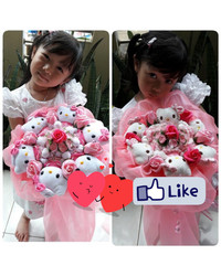 Buket bunga valentine hello kitty doraemon
