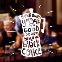 Cutting Sticker Quotes Coffee Cafe Resto Stiker Kaca Dinding