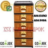 Lemari Stockcase Plastik Napolly 5 susun laci Kunci Roda Murah Kuat