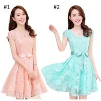 Korean Style Chiffon-Lace Short Sleeve Dress