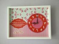 hiasan jam dinding kaligrafi custom kado pernikahan shabby chic merah