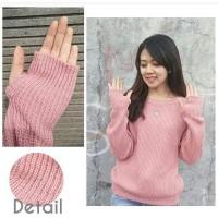 Sweater Rajut Roundhand Wanita Pink