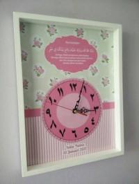 hiasan jam dinding kaligrafi shabby chic pink custom kado pernikahan