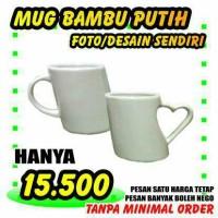 Mug Bambu Putih ( Custom Foto / Desain Sendiri ) MURAH BERKUALITAS
